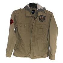 Gap Kids Hooded Khaki Jacket Childrens Size Xxl 14-16 Gray Photo