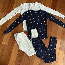 Gap Kids Long John Pajamas Metallic Stars Dots Girls 10 Cotton Navy Ivory Lounge Photo