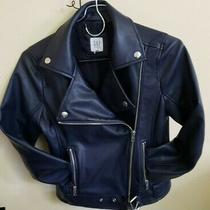 Gap Kids m(8-9yrs) Faux Leather Motorcycle Jacket Navy Zippered Biker Costume Photo