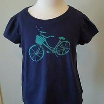 Gap Kids Navy Blue Bicycle Graphic Tee Short Sleeve Girls Xs 4 5 Photo