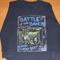 Gap Kids Navy Thermal Long Sleeved 'Battle of the Band' Knit Shirt - Boys M 8 Photo