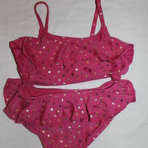 Gap Kids Nwt Girls Swimsuit Two Piece Ruffle Purple Gold Dot Size Xs 4 5 New Photo