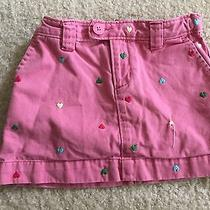 Gap Kids Pink Multicolor Hearts Skirt Girl Sz 6 R Adjustable Waist Free Gift Photo