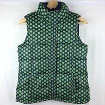 Gap Kids Puffer Vest Girls Xl 14 16 Navy Blue Green Polka Dot Thick Quilted Photo