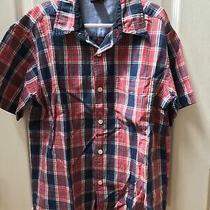 Gap Kids Red White Blue Plaid Button Up Pocket Front M 7-8 Boys Shirt Photo