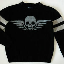Gap Kids Skull With Wings Knit Sweater Size Small 6-7 Black and Gray Long Sleeve Photo