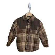 Gap Kids Top Jacket Plaid Sherpa Lined Long Sleeve Boys S Small 6-7 Brown  Photo