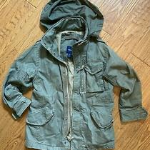 Gap Kids Unisex Hooded Utility Zip Up Jacket Army Green - Size S Great Condition Photo