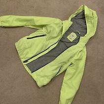 Gap Kids Windbreaker Jacket Gray Jersey Lined Water Resistant Size Medium Yellow Photo