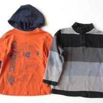 Gap Kids Xs 4-5 Orange Navy Blue Car Hoodie Black Gray Striped Pullover Shirt Photo