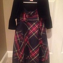 Gap Kids Xs Small 4/5 Plaid Holiday Dress With Little Black Velvet Jacket Photo