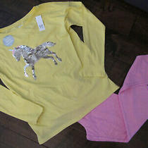 Gap Kids Xxl 13 Nwt Sequin Unicorn Top Long Sleeve & Pink Leggings Outfit or Pjs Photo