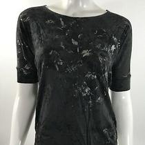 Gap Knit Top Size Xs Black Silver Graphic Dolman Stretch Knit Shirt Womens Photo