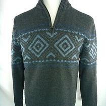 Gap L Large Men's Sweater Gray Blue 1/4 Zip Cotton Blend Knit Long Sleeve Photo