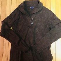 Gap L Wool Shaw Collar Brown Long Sleeve Sweater Euc Lkn Photo