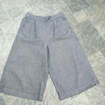 Gap  Ladies Blue Denim Wide Leg Pull on Cropped Trousers  Size Xs Photo
