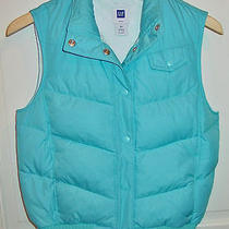 Gap Ladies Blue  Snapped Insulated Vest Size Xsmall New Photo