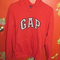 Gap Ladies Size Large Pull-Over Hoodie-Red With Blue & White Graphics Photo
