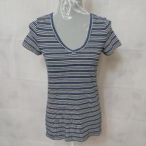 Gap Ladies Striped Blue T-Shirt Top Size Xs v-Neck Short Sleeves Casual  Photo