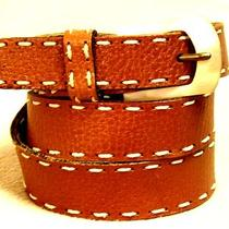 Gap Light Brown Women's Leather Belt Size M Medium With White Trim Shell Buckle Photo