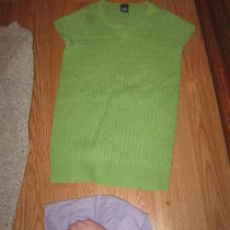 Gap Light Lime Green Ss Crew Neck Stretch Cable Knit Pullover Sweater Top M Photo