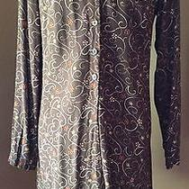 Gap Lightweight Rayon Mini Skater Dress Size Small Long Sleeve Brown Floral Photo
