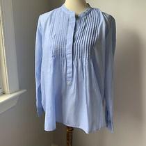 Gap Linen Cotton Pintuck Long Sleeve Blouse Top Blue Size Large Photo