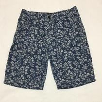 Gap Lived in Shorts Mens Size 31 Cotton Floral Print Blue White Photo