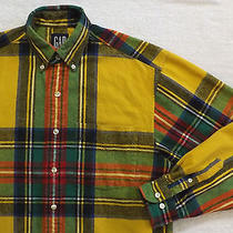 Gap Long Sleeve Flannel Shirt Plaid 100% Cotton Bright Colors Size Small Mens Photo