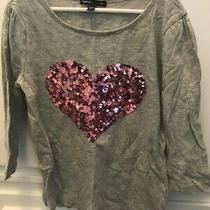Gap Long Sleeve Shirt Top Gray With Pink Sequin Heart Girls Sz 10 Photo