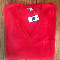 Gap Long Sleeve v Neck Sweater Cotton Womens S Bright Orange/red Nwt Persimmon  Photo
