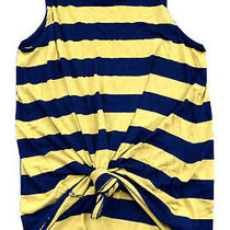 Gap Lux Womens Small Navy and Yellow Striped Tank Top   Photo