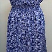 Gap M Blue White Smocked Flutter Sleeve Lined Midi Dress Photo