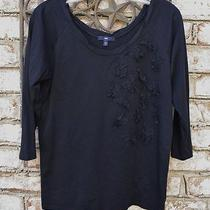 Gap M Cotton Light Knit Top Navy Ruffled Lace Rosettes Flowers Double Scoop Neck Photo