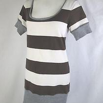 Gap M Medium Dress Brown Ivory Striped Cotton Thick Jersey Gray Ribbed Trim Cute Photo