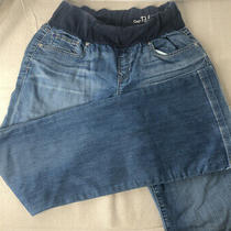 Gap Maternity 1969 Size 28/6 R Long and Lean Med Light Wash Jeans Light Distress Photo