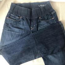 Gap Maternity 1969 Size 29/8 R Sexy Boot Dark Wash Jeans Light Destress Photo