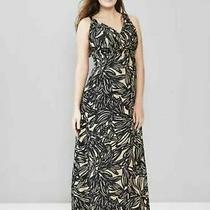 Gap Maternity Black & Tan Foliage Print v-Neck Sleeveless Ankle Maxi Dress Sz 6  Photo