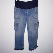 Gap Maternity Cargo Blue Denim Jeans Size 10 Reg Photo