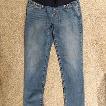 Gap Maternity Jeans Demi Panel Real Straight Size 31 L/12 Euc Photo
