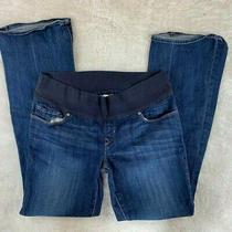Gap Maternity Jeans Stretch Straight Leg Dark Wash Wide Waist Band Size 28 6 Photo