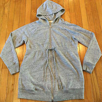 Gap Maternity Long Sleeve Hooded Zip Up Tie Front Sweatshirt Jacket Medium Gray Photo
