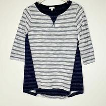 Gap Maternity Navy Blue White Striped Cotton Raglan Sweatshirt Sweater Top Small Photo
