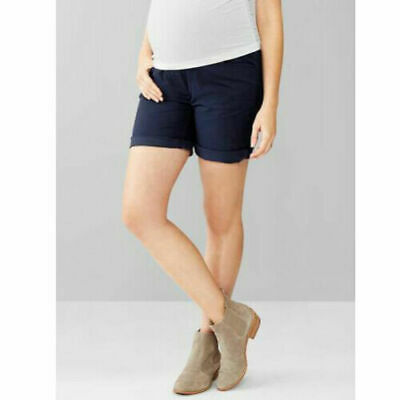 Gap Maternity Navy Full Panel Boyfriend Roll Up Cuff Shorts 4 $40 NWT Photo