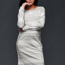 Gap Maternity Nwt Gray Brushed Stripe Zip Pocket Sweatshirt Dress S 4 6 Msrp 70 Photo