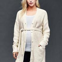 Gap Maternity Nwt Ivory Silver Metallic Wrap Cardigan Belt Sweater L 12 14    Photo