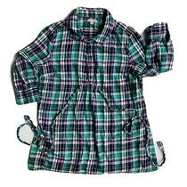 Gap Maternity Plaid Tie Top M Green Purple Photo