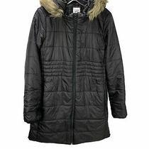 Gap Maternity Puffer Jacket Coat Black Faux Fur Trim Hood Size Small Photo