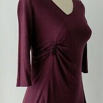 Gap Maternity Purple 3/4  Sleeve v-Neck Gathered at Bust T-Shirt Top Size Xs Photo