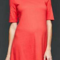 Gap Maternity Red a-Line Swing Knit Circle Hem T-Shirt Dress Medium 60 Nwt Photo